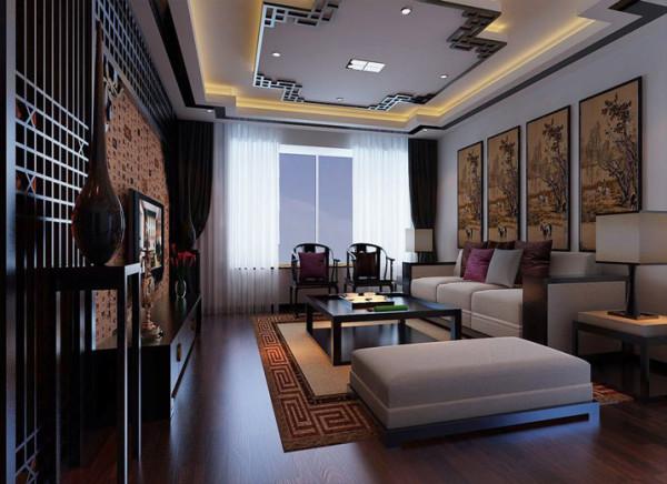 设计理念:客厅吊顶以增加居室层次感而存在,石膏板吊顶与适当的实木线条配合,配以简约的布艺沙发,带给人温馨的家的感觉,增加居室古朴感,沙发背景墙上面选取清明上河图,为客厅环境增加一份风雅。