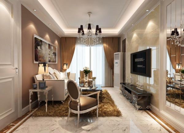 亮点:客厅的主要亮点是电视背景,电视背景采用理石、造型线、镜子搭配做的一组简单造型。配上顶部射灯,把整个电视背景墙的效果提升起来。沙发背景比较简单,白色线条加上咖啡色涂料,显出墙面干脆利落。
