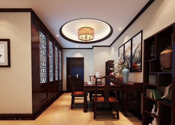 完美的运用结合了中式风格的特征:餐桌、餐椅、餐边桌、华美的吊灯、大气的中国画、漂亮的饰品。再加上厨房门的设计,既满足了使用功能又是一种漂亮的装饰