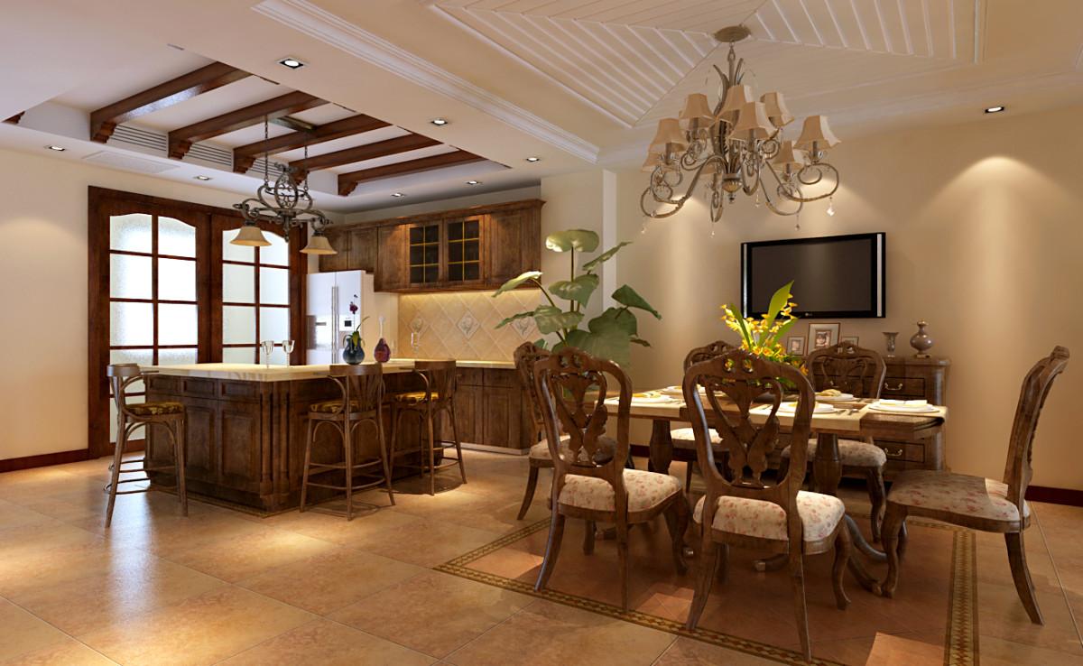 餐厅墙面运用暖色调,顶面采用石膏板拉槽造型装饰,配以欧式古典的家