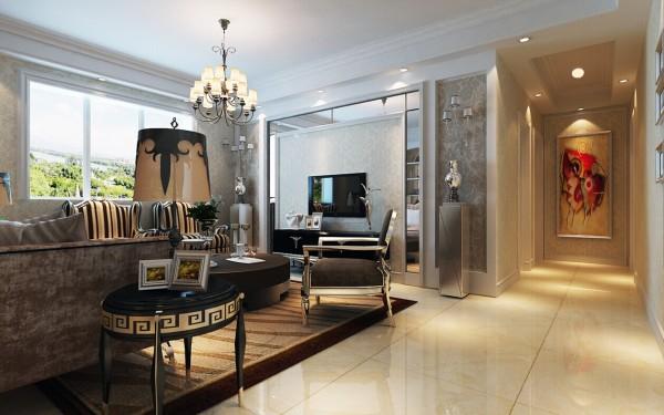 客厅以简洁明快的手法创造一个清新,舒适,轻松的室内环境,尽量让回到家中的主人有一种完全放松的心境。