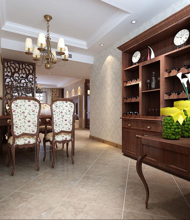 龙源世纪家园120平方三室两厅新中式餐厅效果图 酒柜制作,满足功能图片