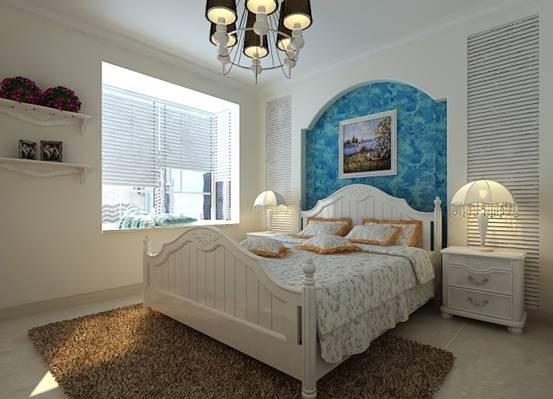 儿童房:蓝白相间色的床头背景、白色的格子柜给孩子一个清新、干净、脱俗的休息空间。