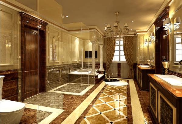 大理石拼花地面,大理石装饰线条,古典质朴味道浓厚的壁炉及吊灯,体现
