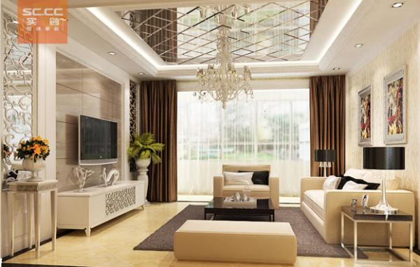 紫晶悦城-97平米现代简约装修设计-客厅效果图