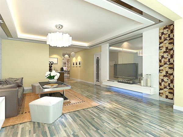 厨房与餐厅是整个在一个空间的格局。客厅的位置通过沙发背景墙,电视背景墙,挂画等装饰,使整个家庭色调很精彩。