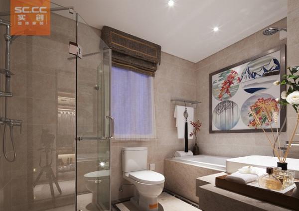 紫晶悦城-97平米现代简约装修设计-卫生间效果图