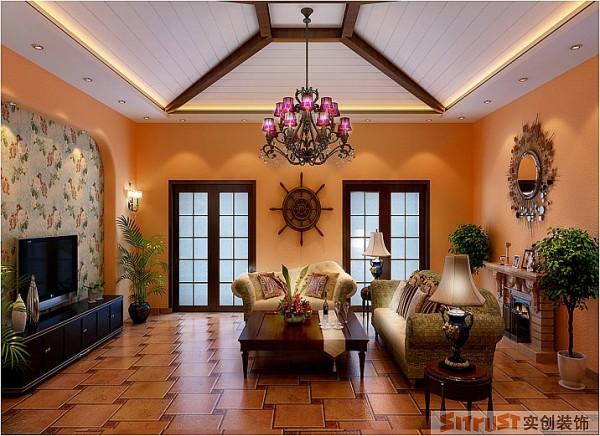 天津实创装饰-艾维诺森林装修效果图 装修报价仿古的拼花地砖,石膏板缝的木梁造型吊顶。