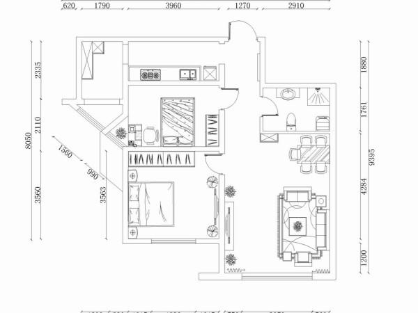 此户型是喜蜜湾2室2厅1卫1厨户型,总面积为87㎡,户型布局规整,功能分区合理,入户逆时针我们可以依次看到的是卫生间、客厅餐厅区域、主卧空间、次卧空间,然后是厨房以及储藏室。整个房子采光还是算比较好