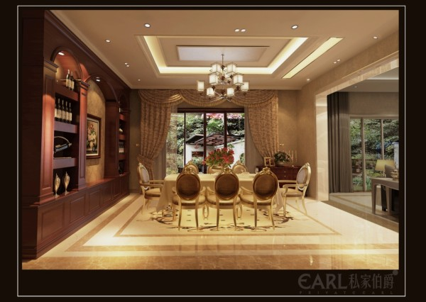 一层的厨房为开放式,兼具餐厅的功能,餐厅与客厅打通连接在一起。