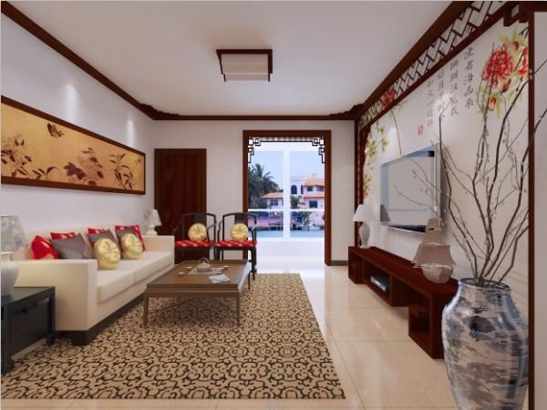 整个客厅相当于餐厅设计较为突出,镂空的设计使整个空间层次分明,瘦、露、透表现的淋漓尽致,阳台哑口的设计,给人一种步入园林文化的感觉,阳台可以作为小花园处理。