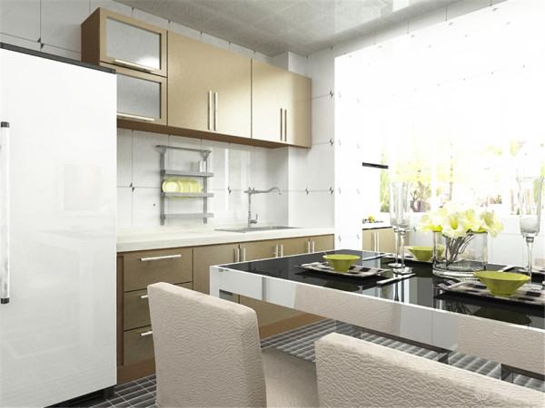 厨房里面安排餐桌,厨房阳台和厨房相同,更显明亮