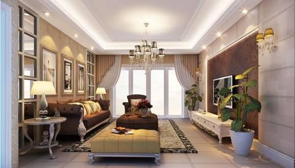 少了富丽堂皇的装饰盒浓烈的色彩,呈现的则是一片清新,典雅和大气并存的轻松空间。咖色的电视背景墙,明亮素实的窗帘,和古典色彩的地毯相呼应,加上造型简洁大方的沙发构成了一个典型的欧洲世界,