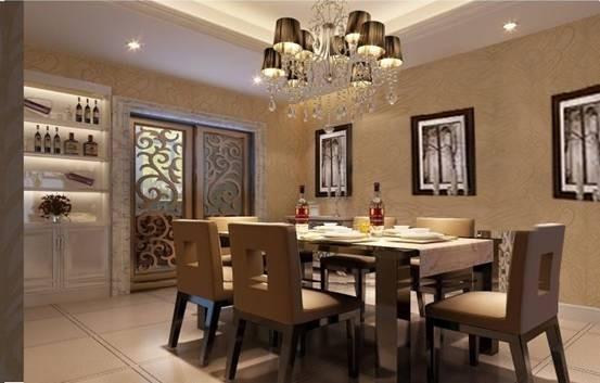 深色的餐桌在明亮的天花映衬下营造的是痛快、利落、干净的氛围。暖色的光源加上暖色的壁纸让空间又温馨了许多。
