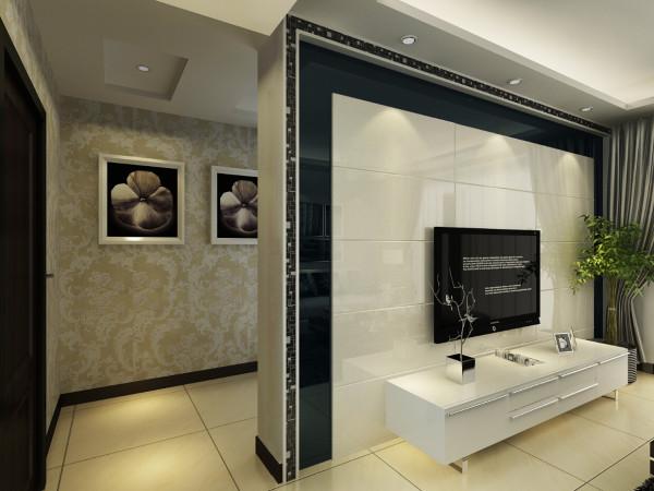 电视背景墙主题为无缝洞石,边缘烤漆玻璃修边。