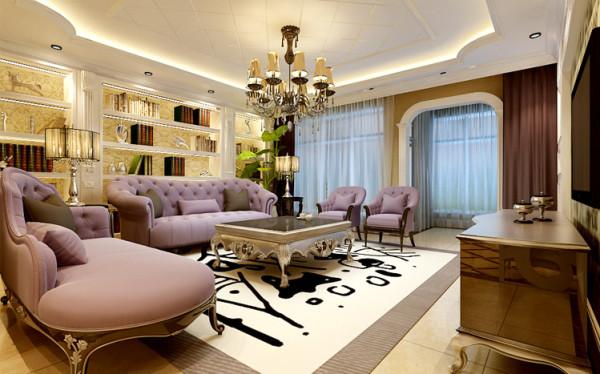 书香门第的客厅 设计理念:宽广的空间,各种欧式线条的运用,这些元素欧式风格的基调。同时在配合欧式风格的垭口,将欧式风情充分展现出来。