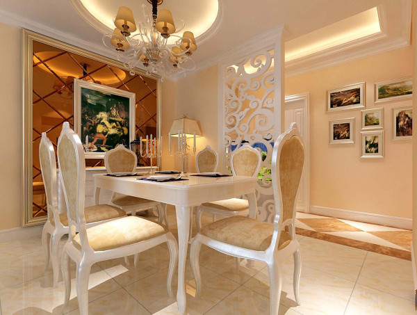 連體的石膏板吊頂貫穿餐廳和客廳,既不紛亂又能分隔區域.