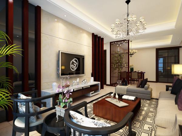 在整个的设计过程中,以简约作为基调,给中式风格重新定义,客厅电视背景墙用木格栅做装饰,里面采用石材,显的沉稳又不失华贵。