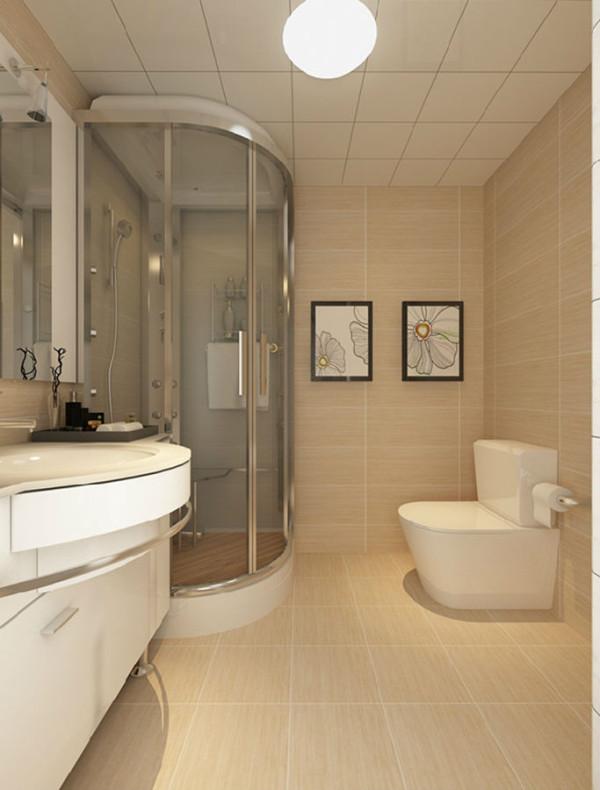 卫生间的色调与房子整体的色调一致,均采用暖黄色,透明玻璃的沐浴区,以及墙上的壁画,使卫生间简洁大气。