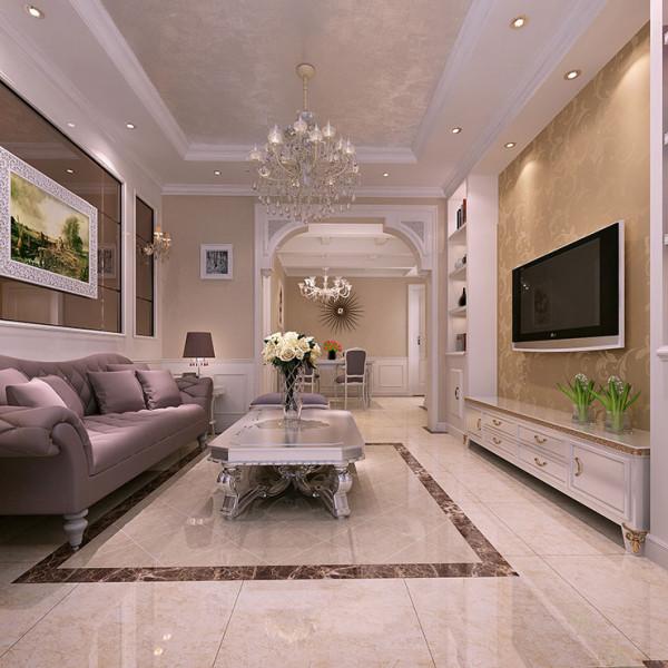 正商新蓝钻90平方二室二厅简欧风格装修案例效果图