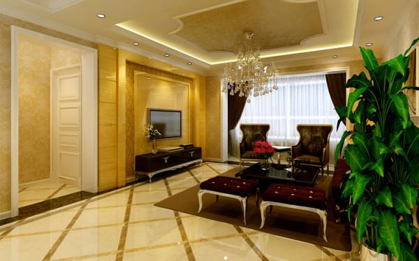 20平大气客厅 设计理念:简约欧式造型,运用淡黄色、复古枣红色等华贵色彩铺陈,在简练含蓄与奔放自由的对话中产生和谐之美,优雅中融合优质的生活态度。