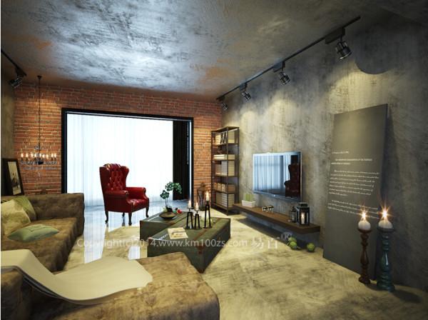 设计理念:loft不一定是挑高的阁楼空间,也不一定是复式楼,平层公寓同样也可以装出loft的艺术感。