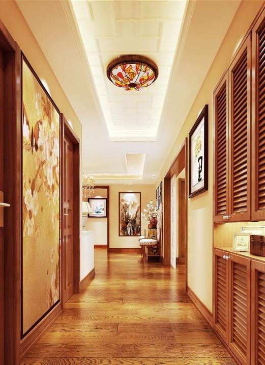 设计理念:入户的走廊在充足的使用功能以外,应以整体的风格,色调相呼应,相对于距离,近处有明快的中式壁画加以点缀,远有开门见景的大型山水画。