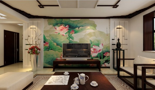 电视背景墙采用莲花壁布设计,两边采用中式直线镂空,背面结合镜面图片