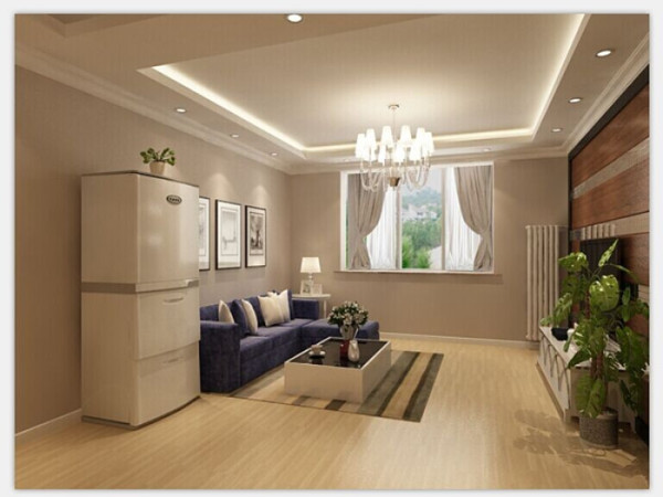 绿色的盆栽,现代感的线条设计搭配浅咖色调的地板,整体呈现出空间明确的现代简约风情。