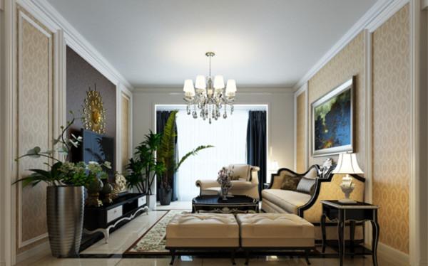 设计理念:壁纸为主要材料,米黄色系列加之白色实木边框做点缀,白色与黄色相结合,给人一种亲近之感。 亮点:米黄色系列壁纸,加之简单欧式家具配套,整体空间低调中的奢华。