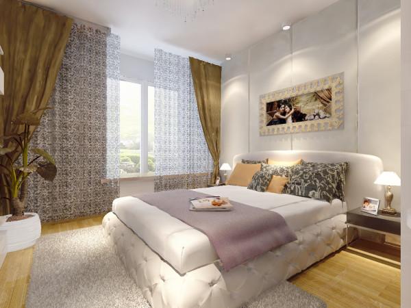 主卧室:此房间为父母的居住空间,所以整体的装饰和色调温馨并带有宜家风格的储物架。