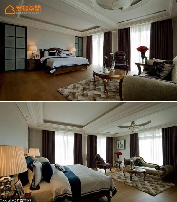 主卧房有独立小客厅规划,而更衣室与主卫浴,则对称列于床头两侧格子门后方。