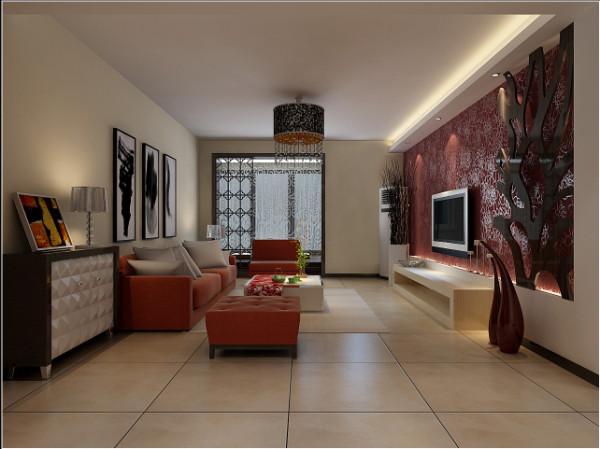 电视墙采用石膏板造型与壁纸相结合,再通过顶面条形吊顶的设计增加光源,突出电视墙,