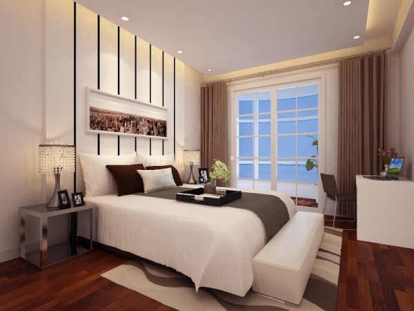 设计理念:实木的柜子,深色窗帘我们可以好好地睡一觉,整个顶面采用平面吊顶,没有主灯,用筒灯营造出浪漫的休息氛围。