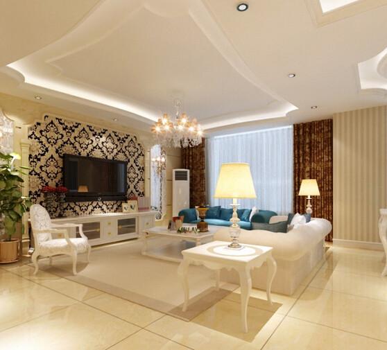 客厅的地上以米色大理石纹络状的瓷砖铺贴,暖色的衬托,更显温馨与舒适,颜色与四周的米咖相间的壁纸相协调。