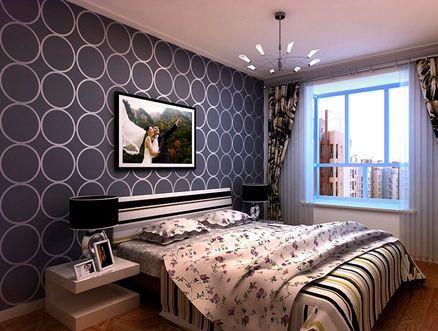 床头背景壁纸背景,结合壁纸窗帘增加卧室的现代感。