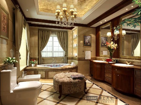 别墅三居别墅装修装修室内设计新中式中式峰上大宅卫生间图片