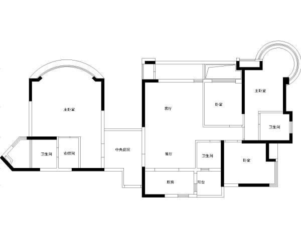 绿地乔治庄园-欧美风情-163平米四居室装修-户型图