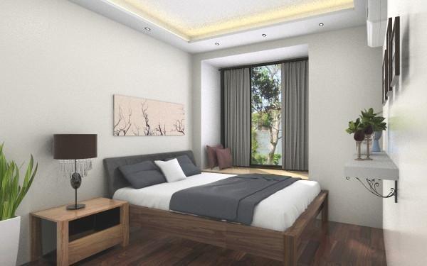 次卧的设计简约中带有一丝日系的韵味。依旧以原木色为主,搭配适当的装饰画和绿植,没有过多的装饰和累赘,清新自然。