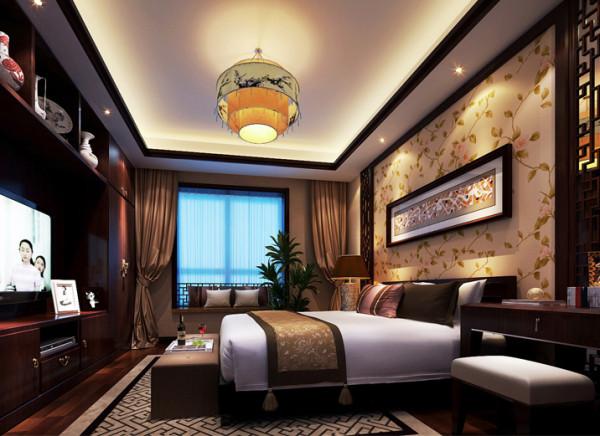 设计理念:床的对面一组组合柜,增大了收纳空间的同时,又兼有博古架的功能,实用美观。再有中式的实木花格、飘窗栏杆、吊灯、台灯、地毯、床头背景花纹、花瓶磁盘、稳重的实木、木色线条,都运用了中式元素