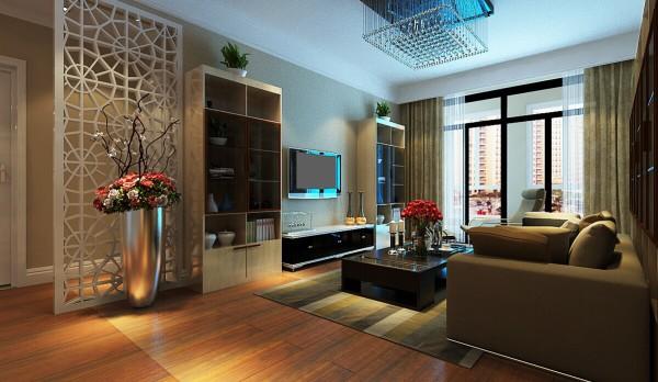 电视背景墙的设计是两个格子高柜与电视背景墙想呼应,在客厅与卫生间的地方利用了隔断,红色花束的点缀,更加温馨。