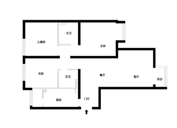 西城区中信沁园124平米原始户型图