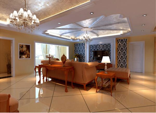 客厅电视精美的造型达到雍容华贵的装饰效果,用大型灯池并用华丽的枝形吊灯营造气氛,布艺沙发组合有着丝绒的质感以及流畅的木质曲线,将传统的欧式家具的奢华与现代家具的实用性完美的结合。