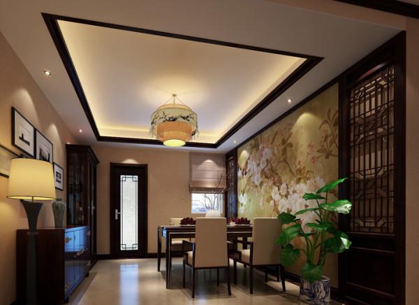 设计理念:餐厅的构成采用中式对称式的布局方式,格调高雅,造型朴素优美,色彩浓厚而成熟。中国传统室内陈设字画、陶瓷、古玩,博古架等,追求一种修身养性的生活境界。
