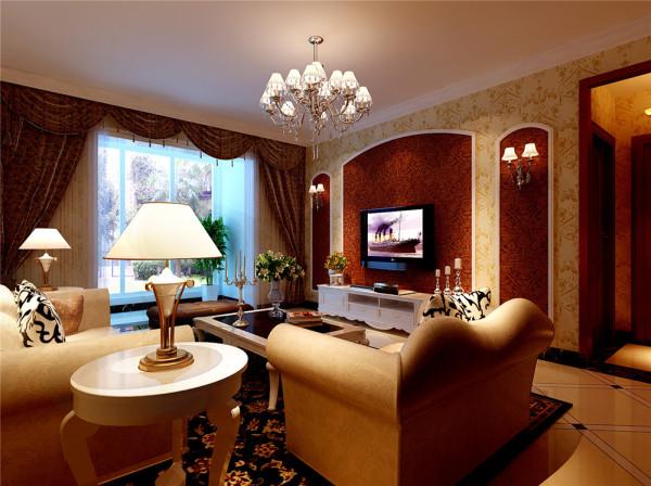 此方案整体采用简约欧式风格,由于空间不是很大,为了更充分合理的利用空间,设计师在客厅处设计一储物柜,增加空间的收纳功能,色彩搭配温馨,墙面壁纸选择紧密围绕整体风格。