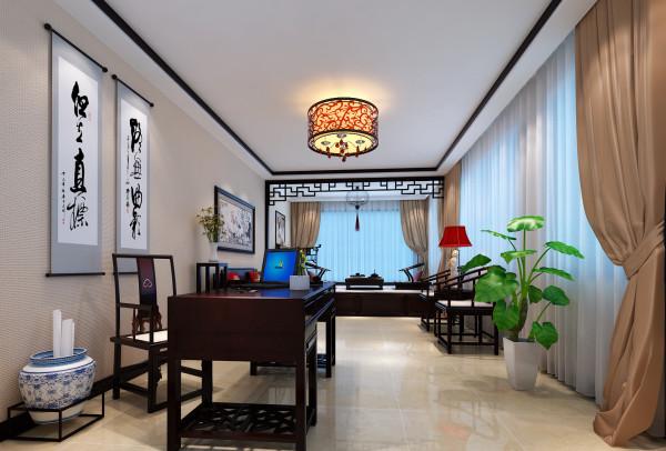 淮矿馥邦天下-简约中式-123平米三居室装修-客厅装修效果图