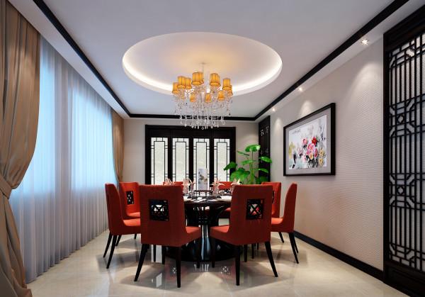 淮矿馥邦天下-简约中式-123平米三居室装修-餐厅装修效果图