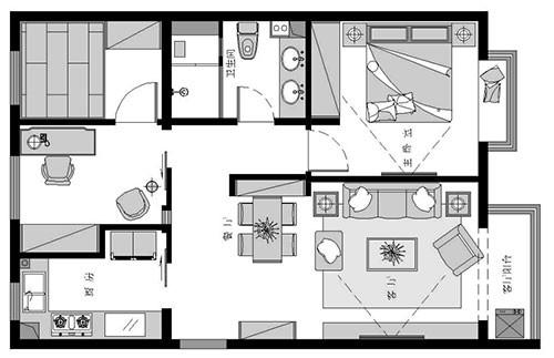 国风美唐一居室户型平面布置图