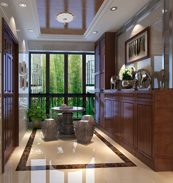 金宇天地城-现代中式风格-122平米三居室装修-入户 装修效果图