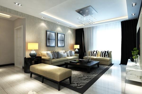 沙发背景墙面上的那副抽象的壁画则在充满东方情韵的空间中,恰到好处地亮出一笔时尚奢华的国际风尚